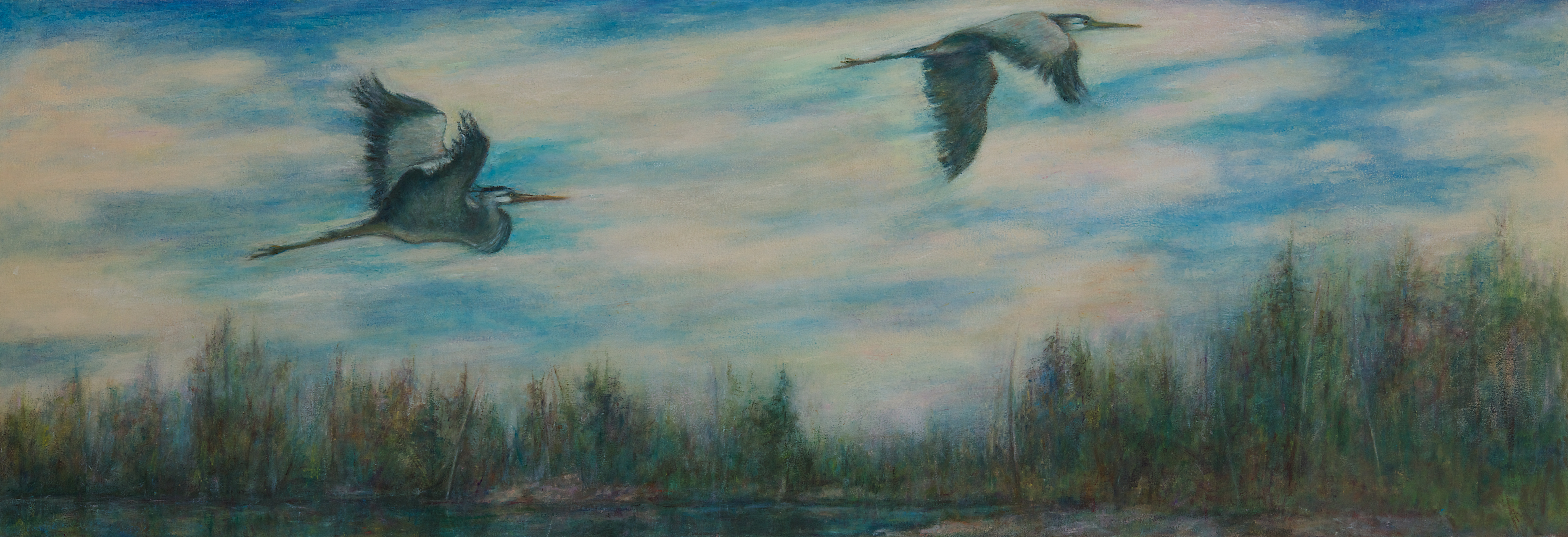 Herons Over the Landscape, oil, wax on canvas, 24 x 69 in
